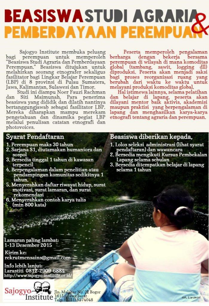 Poster rekrutmen Studi Agraria dan Pemberdayaan Perempuan